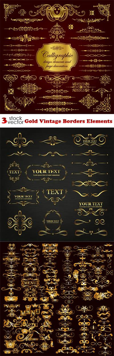 Vectors - Gold Vintage Borders Elements