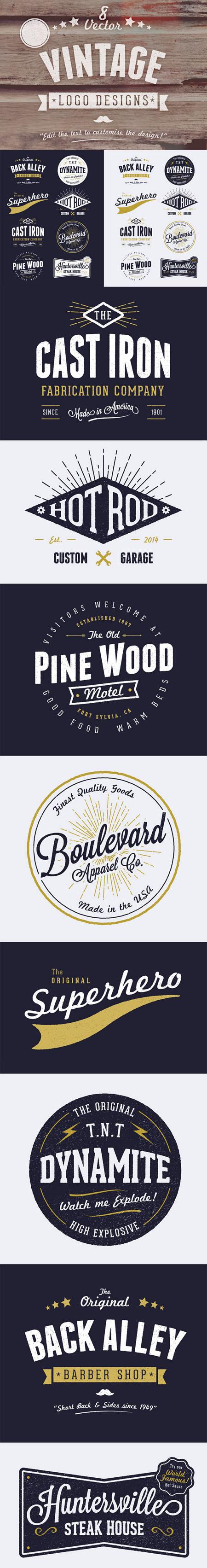 8 Customizable Vintage Style Logo Designs in Vector