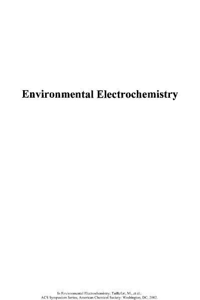 Environmental Electrochemistry  Analyses of Trace Element Biogeochemistry